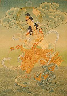 kannon-avalokiteshvara-riding-shishi-tibetshop-com.jpg (344×494)