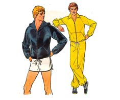 70s Mens Retro Tracksuit & Shorts Pattern Simplicity 8360 Jogging Suit Active Wear Vintage Sewing Pattern Chest 42 - 44 inches