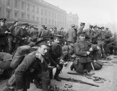 1st Battalion, Irish Guards prepare to leave Wellington Barracks, Westminster, London, following the outbreak of the First World War, 6 August 1914. The Battalion arrived in France as part of the British Expeditionary Force on 13 August 1914.