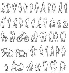 Sketched people silhouettes vector