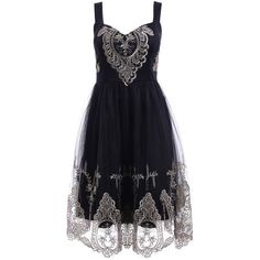 Elegant Straps Golden Lace Floral Embellished Dress For Women ($18) ❤ liked on Polyvore featuring dresses, embellished dress, floral lace dress, floral print cocktail dress, blue dress and lacy dress