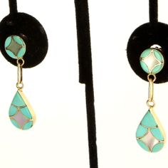 Estate 14 Karat Yellow Gold Inlaid Turquoise Mother Of Pearl Dangle Earring