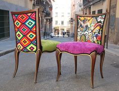 Throne dining chairs texas decor french painted chalk paint eclectic bohemian flag animal print - La tapicera madrid ...