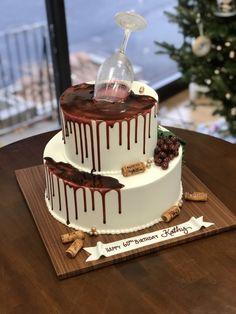 Birthday Cake Wine, 2 Tier Birthday Cakes, Sweet Birthday Cake, Tire Cake, Sweet 16 Cakes, Cake Shapes, Decadent Cakes, Vides, Cake Cover