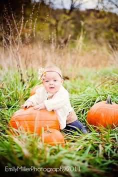 Baby Photography / Fall / Pumpkins / girl -Missouri Child Photography--perfect for Ava's first bday