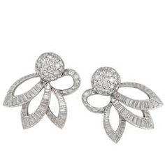 Cartier Diamond Earclips, 1950s