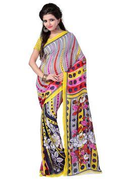 Sagun Faux Georgette Printed Saree ,Colour - Yellow - Sagun Fashion Sarees for indian woman