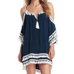 Main Image - Surf Gypsy Tassled Cold Shoulder Cover-Up Tunic Shift Dresses, Louis Vuitton, Vestido Casual, Collar Styles, Vacation Dresses, Dresses Online, Beachwear, Ideias Fashion, Casual Dresses