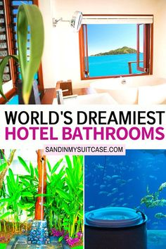 World's Dreamiest Hotel Bathrooms. Take a peek at these gorgeous hotel bathrooms! These 5-star hotel bathrooms are some of the most amazing hotel bathrooms in the world. | Luxury hotel bathrooms | Hotels with luxury bathrooms | #luxury #bath 5 Star Resorts, All Inclusive Resorts, 5 Star Hotels, Hotels And Resorts, Best Hotels, Luxury Hotel Bathroom, Hotel Bathrooms, Luxury Bathrooms, Sand Game