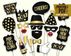 New Years Eve props: printable PDF. 2017 New Years par HatAcrobat