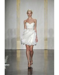 Sweetheart High Waist Beaded Organza Short Wedding Dress @Suzie Lee