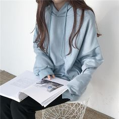 Seven colors oversized front pocket long sleeve hoodie in 2019 Tumblr Outfits, Grunge Outfits, Girl Outfits, Cute Outfits, Fashion Outfits, Style Ulzzang, Ulzzang Fashion, Kfashion Ulzzang, Mode Harajuku