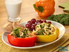 Rainbow Bell Pepper Boats with Garbanzo Beans and Kale #veggies #grains #MyPlate #WhatsCooking