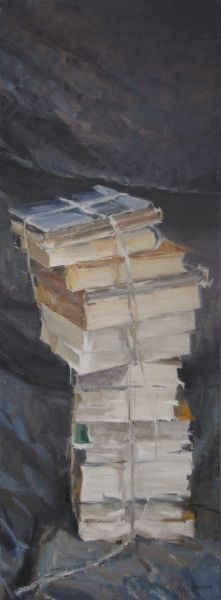 #1477 Libri / Books Olio su tela, oil on canvas 80x30