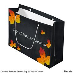 Custom Autumn Leaves Joy Large Gift Bag