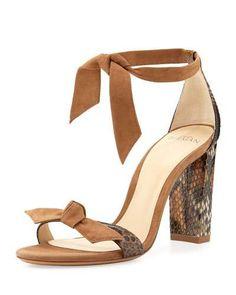 ALEXANDRE BIRMAN Clarita Suede & Python 90Mm Sandal, Beige. #alexandrebirman #shoes #sandals