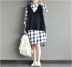 Pulls & sous-pulls, BLACK Woolen Oversize Loose Plus Size V Neck Vest est une création orginale de SevenSpace sur DaWanda