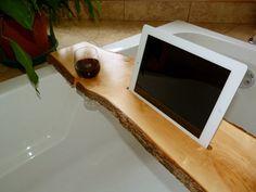 Tablette de bain iPad / bath wood stand live edge