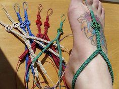 Peace Sign hemp barefoot sandals hemp jewelry by HempHugs on Etsy, $17.00