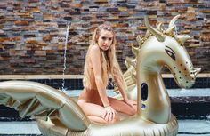 FETCH giant luxury gold dragon inflatable pool float