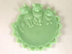 Westmoreland Glass Company Three Kittens Jadeite Plate by VintageTakes on Etsy