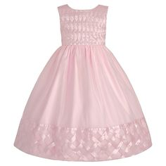 American Princess Pink Pearl Lattice A-Line Dress- Girls Kohls Dresses, Dressy Dresses, Satin Dresses, Pageant Dresses, Blush Flower Girl Dresses, Little Girl Dresses, Birthday Dresses, Kind Mode, Baby Dress