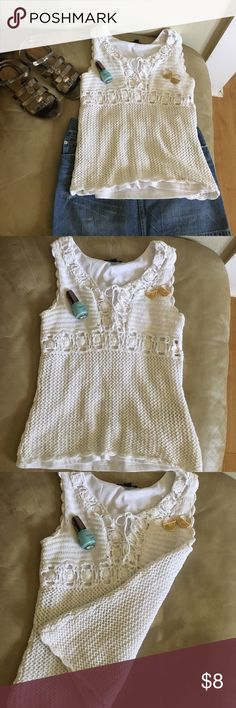 Festival flair crotchet tank White crotchet tank top with lining inside. So on trend and super cute. Pair with your favorite jean skirt, shorts or Maxi skirt. ABG Tops Tank Tops