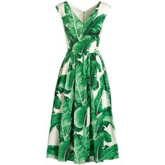 Dolce & Gabbana Cap-Sleeve Banana Leaf-Print Midi Dress ($2,125) ❤ liked on Polyvore featuring dresses, cap sleeve midi dress, full skirt, cap sleeve dress, green cap sleeve dress and straight dress