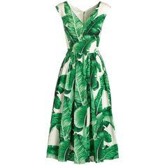 Dolce & Gabbana Cap-Sleeve Banana Leaf-Print Midi Dress (€1.890) ❤ liked on Polyvore featuring dresses, vestidos, mid calf dresses, full midi skirts, full skirt midi dress, v-neck dresses and v neck dress