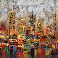 "Portfolio Canvas ""City Lights"" Painting Print on Wrapped Canvas & Reviews | Wayfair"