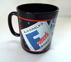 #Vintage McDonald's Corporation Advertising French Roast Coffee Mug Black Cup France