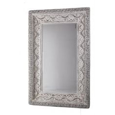 To create a grand focal point for your room, feature our over sized Ornamental Mirror amongst a French or Hampton's style decor, incorporating antique white finished furniture, linen furnishings and and foamy sea accents. Think shell collections in big glass bowls. Features      Mirror is made from polyresin and finished in a washed antique white.     Bevelled mirror     Hampton's