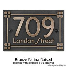 Like our Mission Style and Amercian Craftsman Plaque, this one uses the popular Frank Lloyd Wright Eaglefeather Typeface.