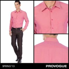 Challenge the norm with Bold Pink this season!  Made for the man who doesn't mind a dash of color in his office wear, this formal pink shirt from Provogue can also worn with jeans for a night out on the town. Are you ready for your style revolution?
