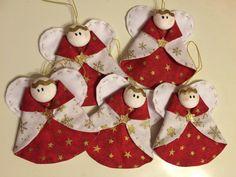 Andílci na vánoční stromeček Christmas Ornaments, Sewing, Holiday Decor, Home Decor, Dressmaking, Decoration Home, Couture, Room Decor, Christmas Jewelry