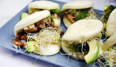 Vegetarische bao buns met o.a. avocado, tempeh, wakame en wasabi
