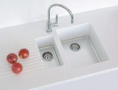 Large tub with shallow small tub and draining board in solid surface. Large Tub, Small Tub, Rustic Kitchen Sinks, Kitchen Decor, Solid Surface Worktops, Corian Sink, Prep Sink, Kitchen Units, Kitchen