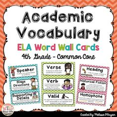 English Language Arts Word Wall - 4th Grade - Chevron - 202 Words!!!!Download…
