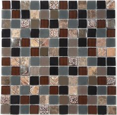 """Euro Glass  Monarchy Glass Series, 7/8"""" x 7/8"""", Opulence Hidden Valley , Glossy & Frosted, Brown, Glass and Stone"""