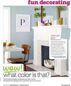 Love this framed book page. Also the gray-blue walls are nice. The color is Colorado gray by Benjamin Moore. Blue Grey Walls, Grey Wall Color, Blue Gray Paint, Paint Color Schemes, House Color Schemes, Wall Paint Colors, Grey Palette, Condo Remodel, Favorite Paint Colors
