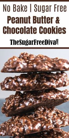 I am pretty excited about this recipe for No Bake Sugar Free Chocolate & Peanut Butter Cookies. Super Easy Sugar Free Re Sugar Free Deserts, Sugar Free Snacks, Sugar Free Sweets, Sugar Free Cookies, Sugar Free Recipes, Sugar Free Muffins, Sugar Free Fudge, Sugar Free Frosting, Sugar Free Brownies