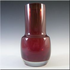 Riihimaki/Riihimaen Lasi Oy Finnish Red Glass Vase #1483 - £30.00