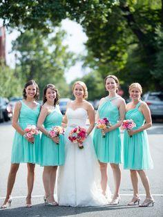 J.Crew chiffon turquoise bridesmaid dresses #wedding
