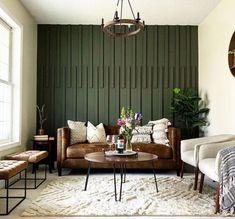 Green Accent Walls, Accent Walls In Living Room, Accent Wall Bedroom, Home Living Room, Living Room Decor, Wood Accent Walls, Accent Wall Decor, Wall Accents, Green Walls