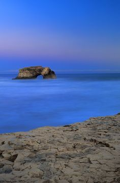 Natural Bridges rock in the Beach of Santa Cruz, California, USA.