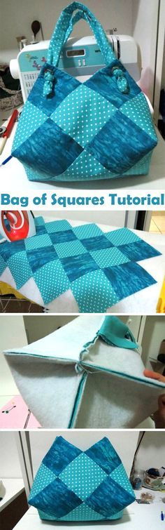 Beautiful bag - a sack of squares. Sew Tutorial http://www.handmadiya.com/2014/06/bag-sack.html