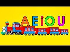 Cartelitos de las vocales en un tren. Dibujos de letras vocales minúsculas para imprimir y decorar el salón. Dibujos para que los niños aprendan las vocales. First Grade, Literacy, Spanish, Videos, Education, Games, Learning, Logos, Youtube