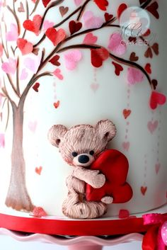 bear and tree with hearts