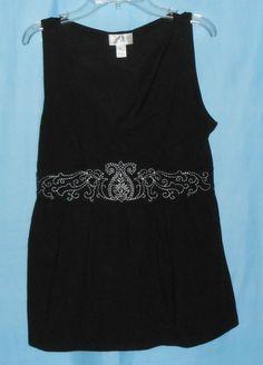 ANN TAYLOR LOFT Sleeveless Top/Blouse Women Sz M Medium-V-neck Embroidered Black #Style #Fashion #Deal