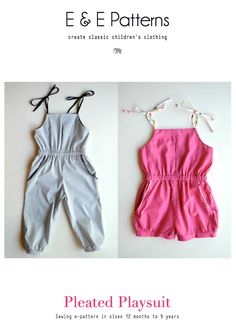 Sewing For Kids Pleated Playsuit Pattern Sewing Patterns Girls, Kids Patterns, Clothing Patterns, Pattern Sewing, Knitting Patterns, Sewing Projects For Kids, Sewing For Kids, Free Sewing, Sewing Art